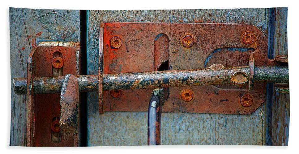Locks Beach Towel featuring the photograph Lock And Latch by Randy Harris