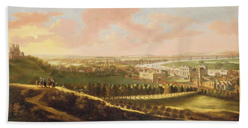 Xyc127217 Beach Towel featuring the photograph London From Greenwich Hill by English School