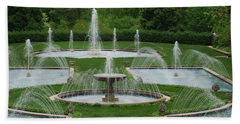 Fountain Beach Towel featuring the photograph Longwood Fountains 3 by Richard Bryce and Family