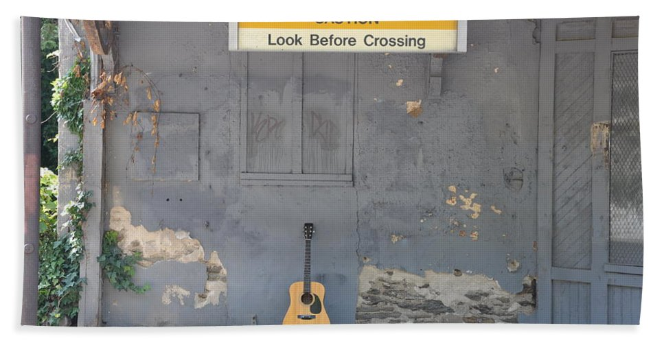 Look Before Crossing Beach Towel featuring the photograph Look Before Crossing by Bill Cannon