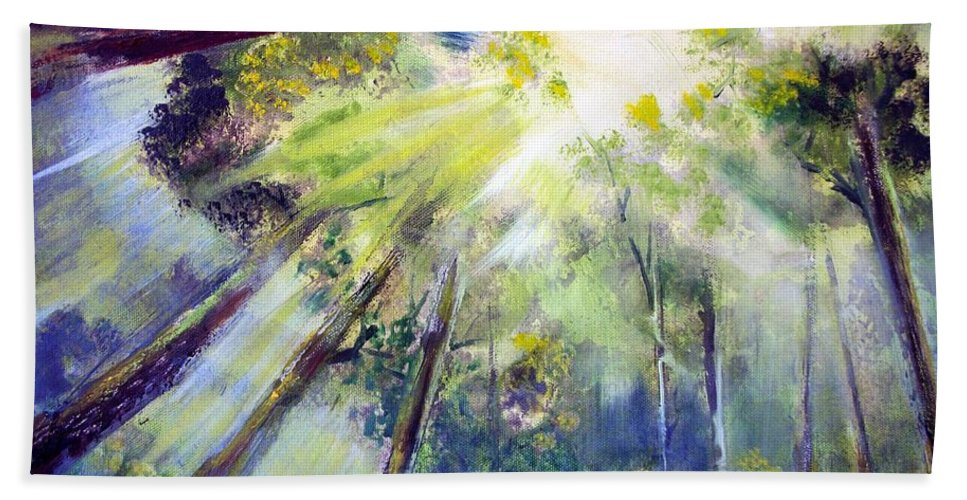 Forest Beach Towel featuring the painting Look Up by Robert Gross