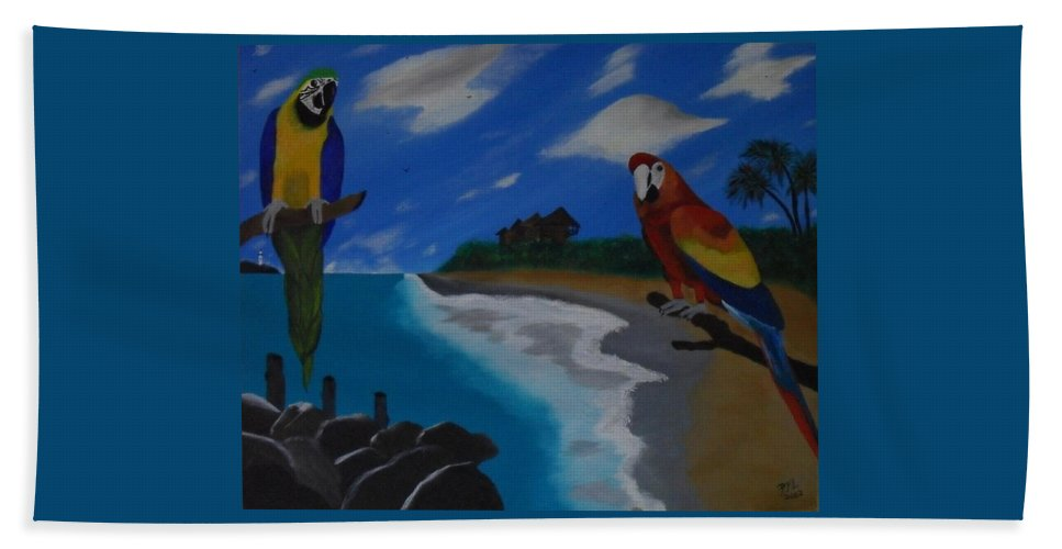 Birds Beach Towel featuring the painting Lookin At You Lookin At Me by Paul F Labarbera