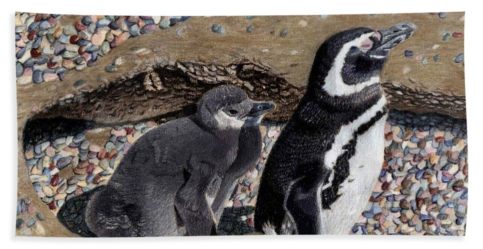 Art+prints Beach Towel featuring the painting Looking Out For You - Penguins by Patricia Barmatz