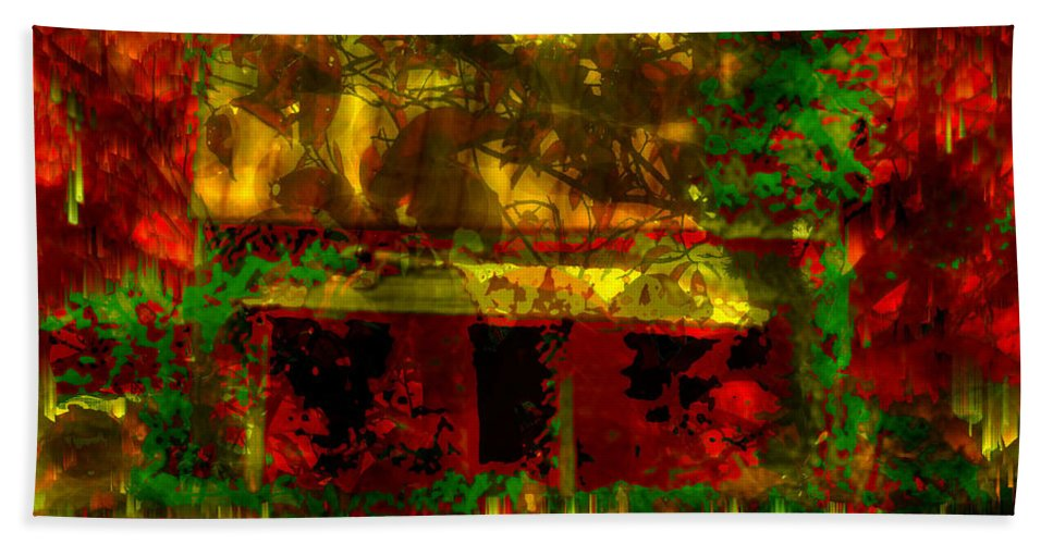Looking Through Leaves Beach Towel featuring the digital art Looking Through Leaves by Seth Weaver