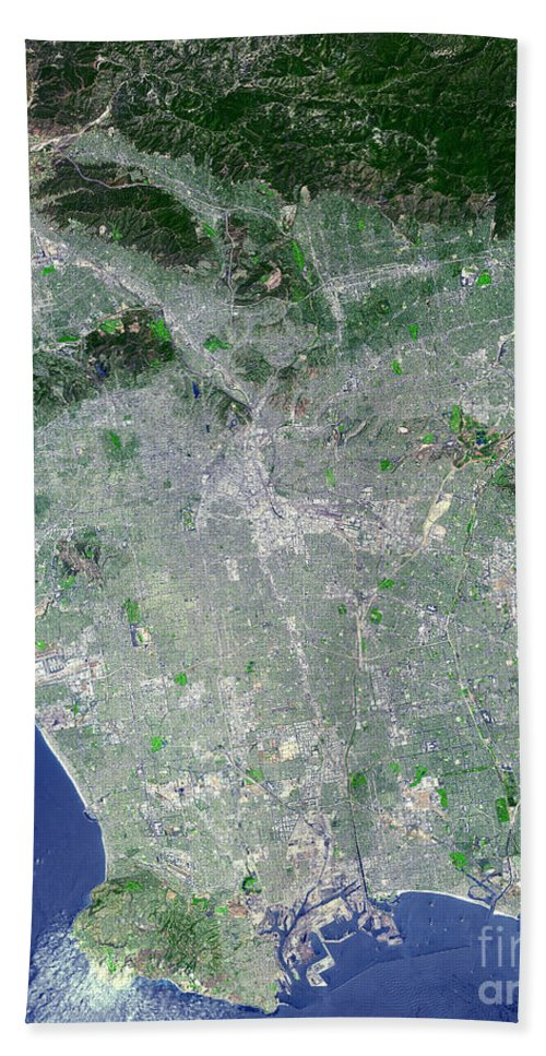 Color Image Beach Towel featuring the photograph Los Angeles, California by Stocktrek Images