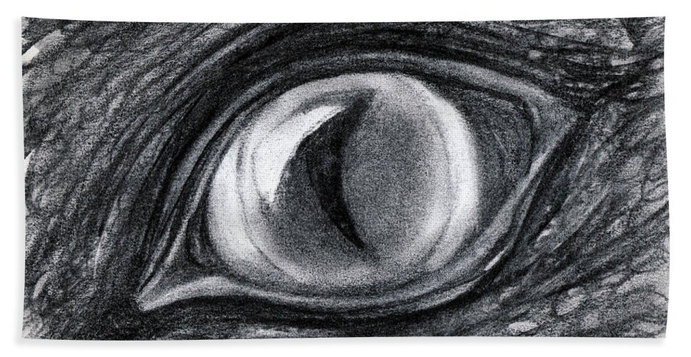 Charcoal Beach Towel featuring the drawing Lost In The Eye Of Your Past by Elizabeth Harshman