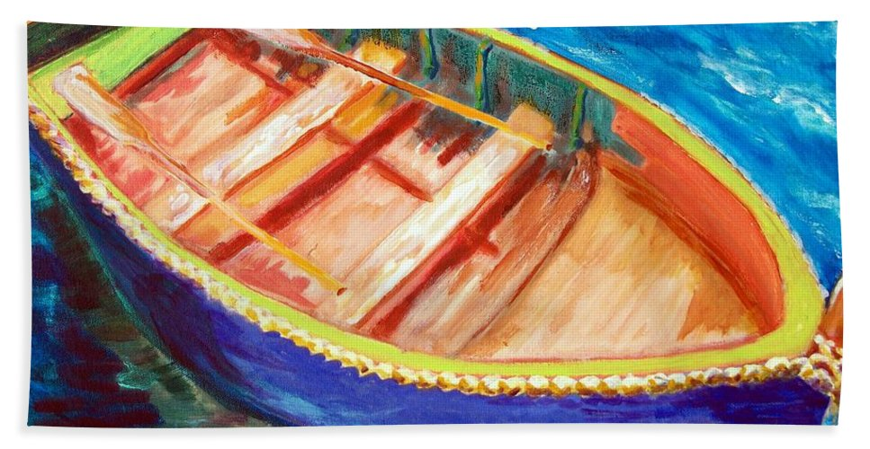Nautical Beach Towel featuring the painting Love Boats by Robert Gross