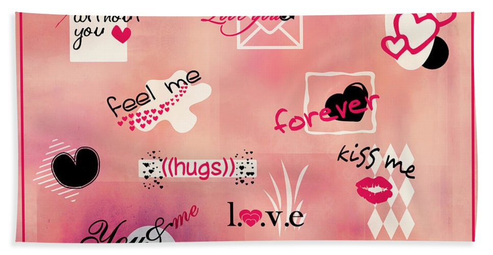 Love Beach Towel featuring the digital art Love Words - Valentine's Card by Aimelle