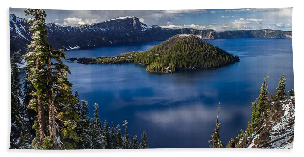 Cascades Beach Towel featuring the photograph Luminous Crater Lake by Greg Nyquist