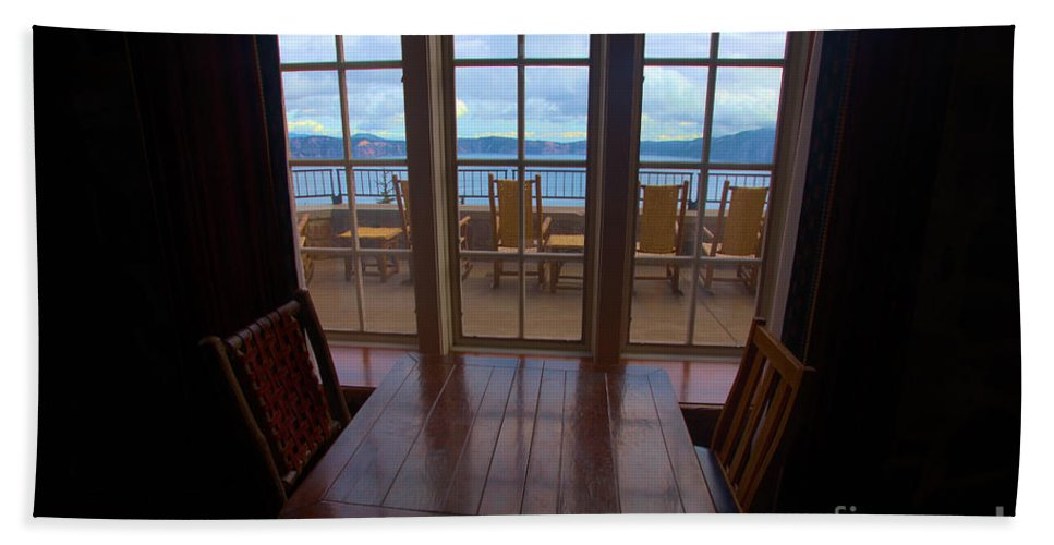 Crater Lake National Park Beach Towel featuring the photograph Lunch With A View by Adam Jewell