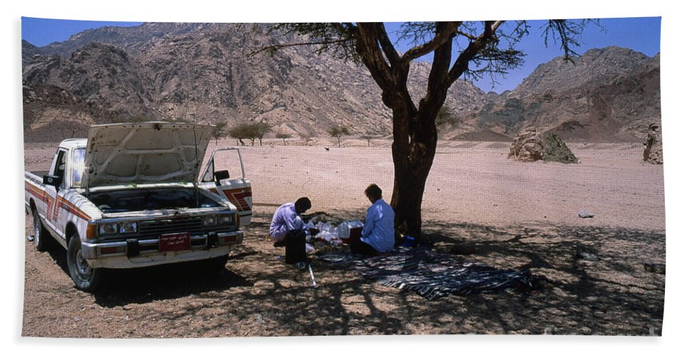 Travel Beach Towel featuring the photograph Lunchtime In The Desert Of Sinai by Heiko Koehrer-Wagner