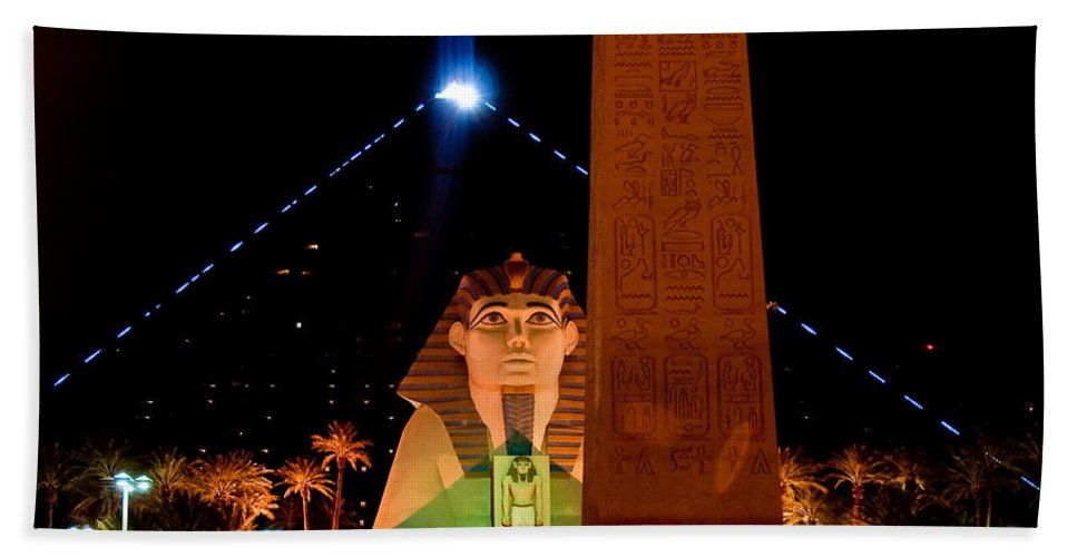 N Luxor Beach Towel featuring the photograph Luxor At Night by Jim Chamberlain