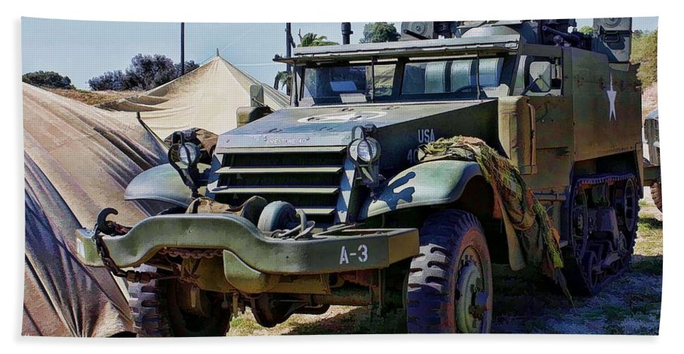 M-2 Half-track Beach Towel featuring the photograph M-2 Half-track by Tommy Anderson