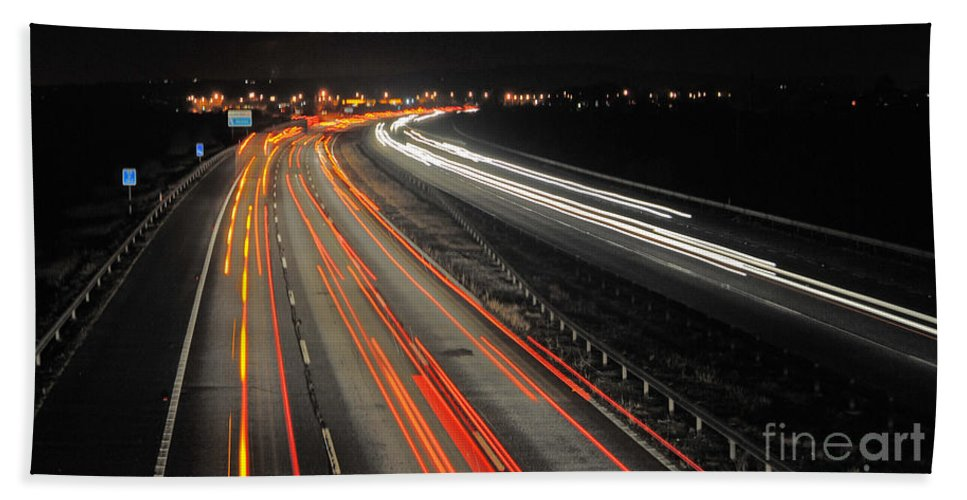 M5 Beach Towel featuring the photograph M5 At Night by Rob Hawkins