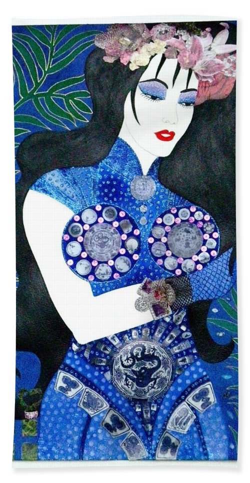 Asian Beach Towel featuring the painting Ma Belle Salope Chinoise No.11 by Dulcie Dee