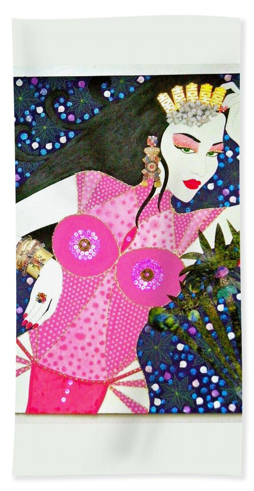 Asian Beach Towel featuring the painting Ma Belle Salope Chinoise No.12 by Dulcie Dee