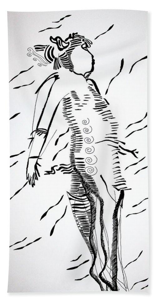 Jesus Beach Towel featuring the drawing Maasai Dance - Kenya by Gloria Ssali