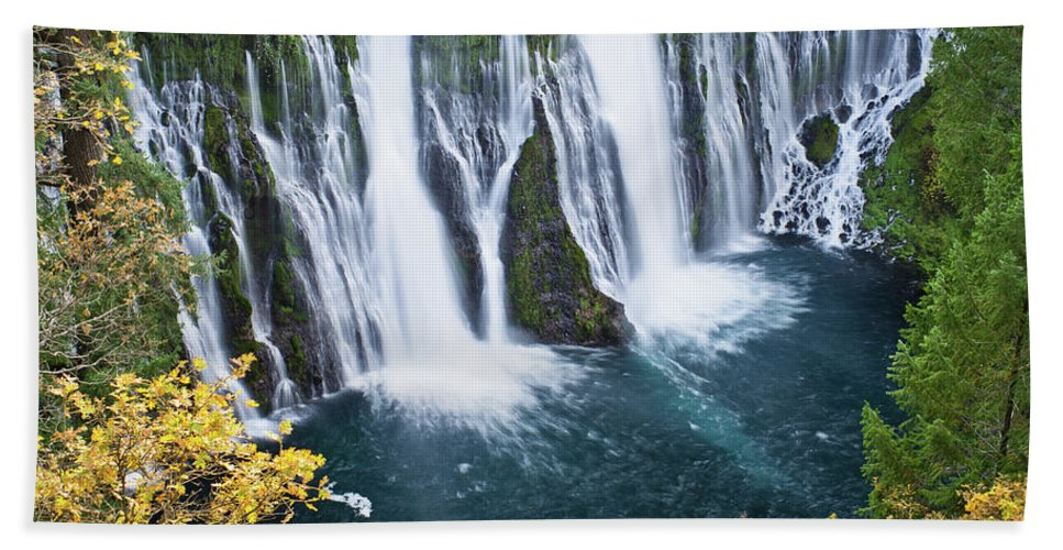 Waterfall Beach Towel featuring the photograph Macarthur-burney Falls In Autumn by Greg Nyquist