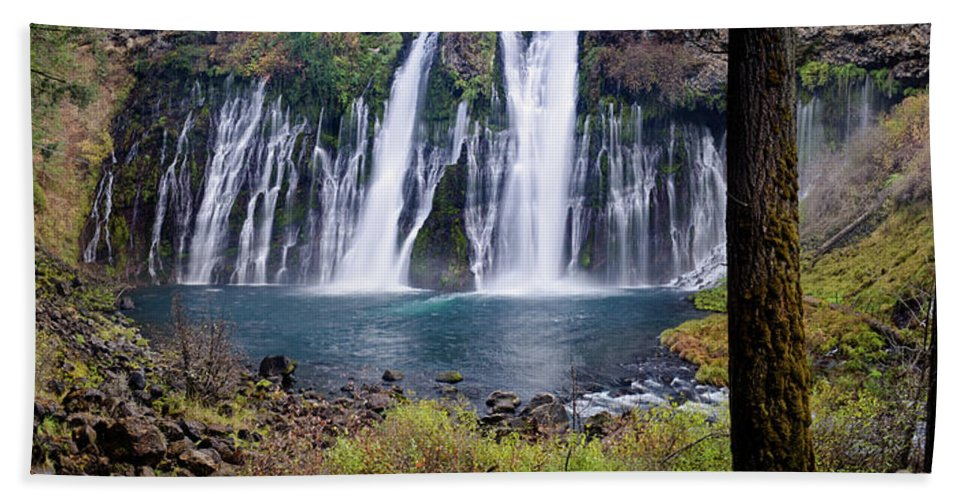 Waterfall Beach Towel featuring the photograph Macarthur-burney Falls Panorama by Greg Nyquist