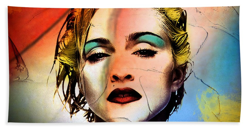Madonna Beach Towel featuring the painting Madonna by Mark Ashkenazi