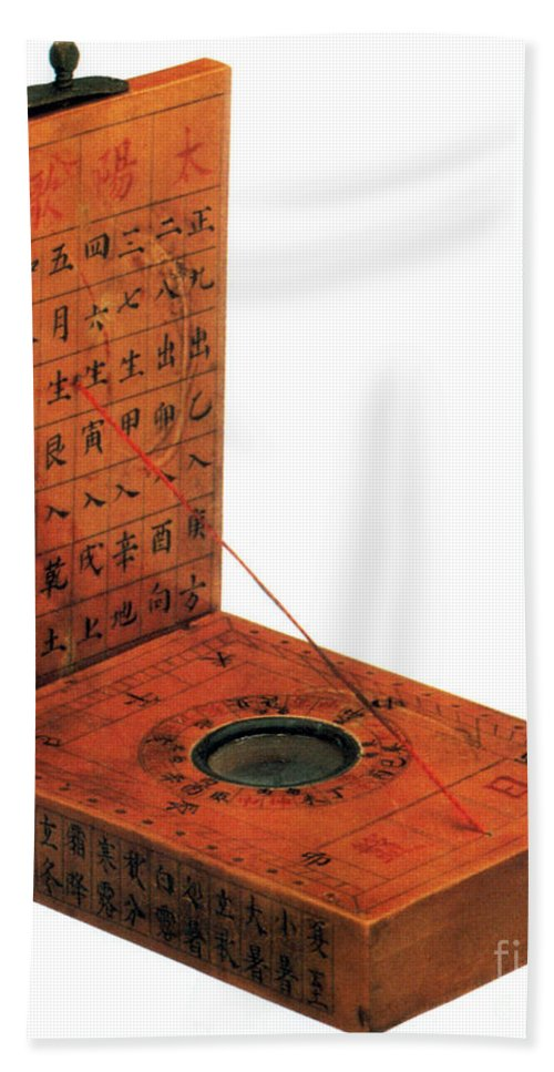 History Beach Towel featuring the photograph Magnetic Compass by Photo Researchers
