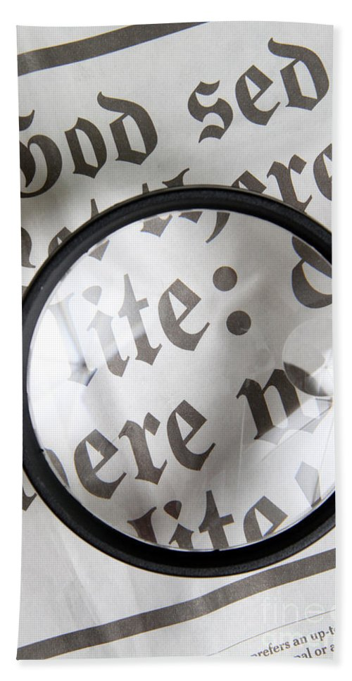 Newspaper Beach Towel featuring the photograph Magnifying News by Photo Researchers, Inc.