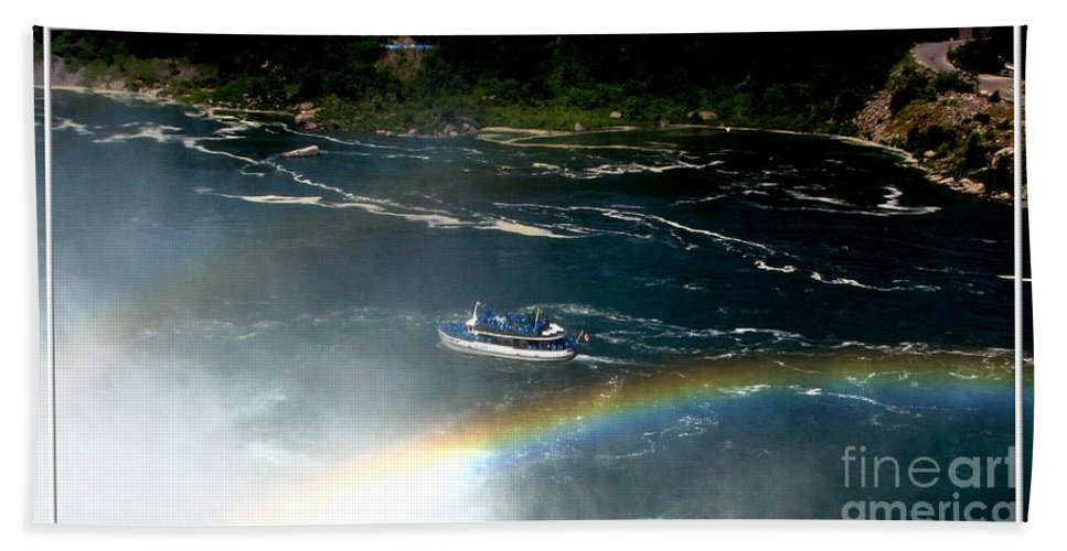 Maid Of The Mist Beach Towel featuring the photograph Maid Of The Mist And Rainbow At Niagara Falls by Rose Santuci-Sofranko
