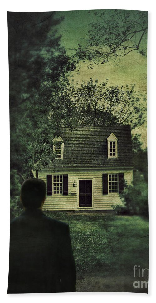 Man Beach Towel featuring the photograph Man In Front Of Cottage by Jill Battaglia