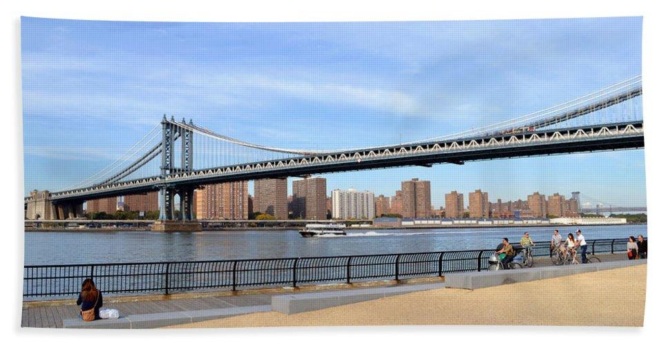 Manhattan Beach Towel featuring the photograph Manhattan Bridge1 by Zawhaus Photography
