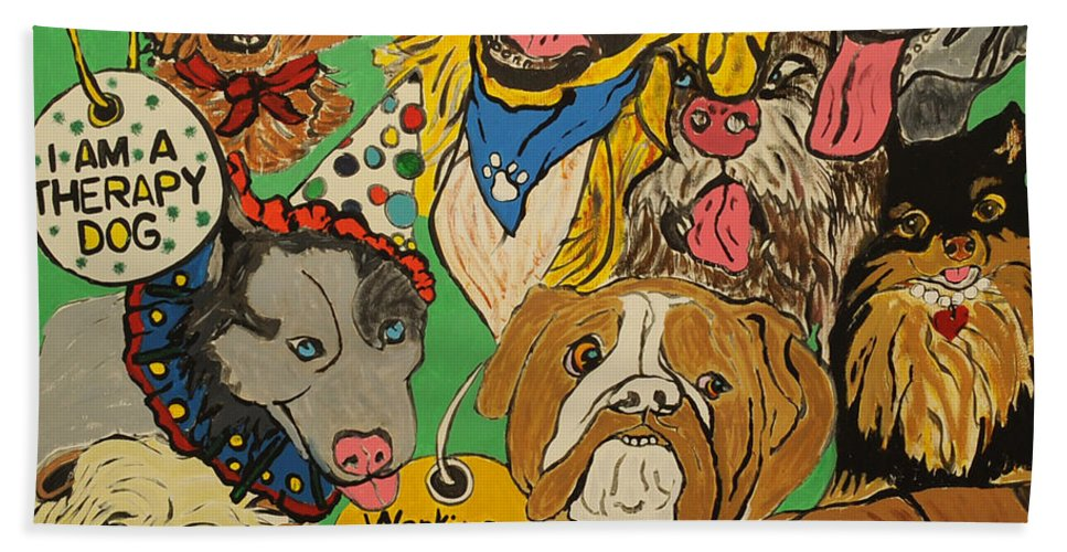 Art Therapy Beach Towel featuring the painting Many Hands Create Art Mural Project by Pat Saunders-White