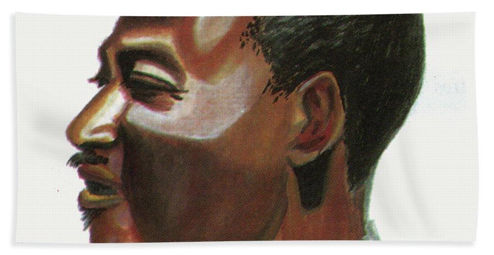 Portraits Beach Towel featuring the painting Marc Kadima by Emmanuel Baliyanga