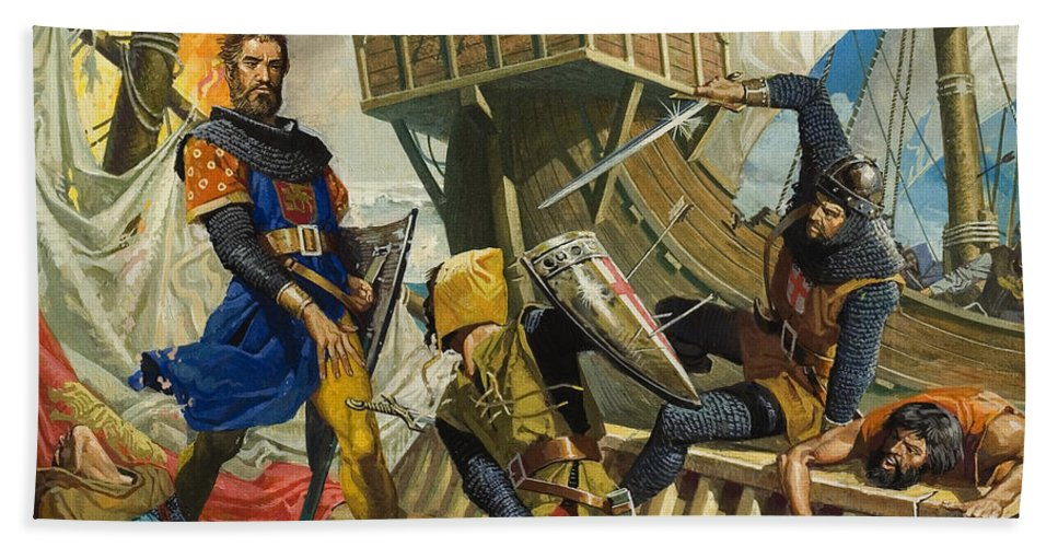 Genoa; Capture; Ship; Fight; Fire; Armour; Naval; Battle; Explorer; Trader; Travels; Il Milione; Fight; Mast; Shield; Sword; Soldier; Attack; Children's Illustration; Male; Portrait Beach Towel featuring the painting Marco Polo by Severino Baraldi