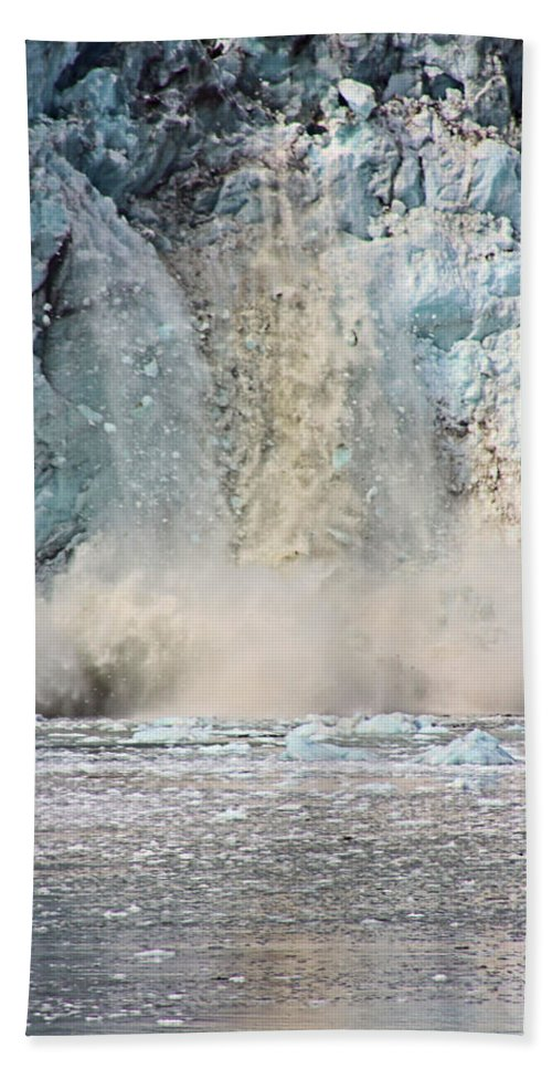 Glacier Beach Towel featuring the photograph Margerie Glacier Calving by Kristin Elmquist