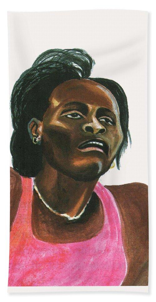 Portraits Beach Towel featuring the painting Maria Mutola by Emmanuel Baliyanga