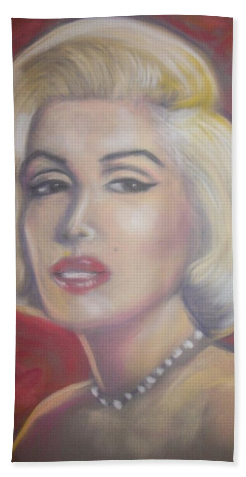 Beach Towel featuring the pastel Marilyn by Jan Gilmore