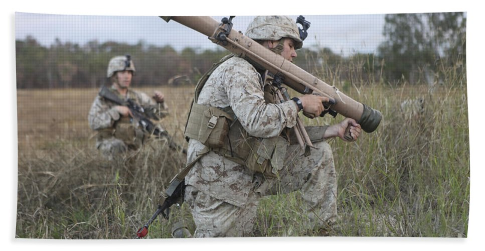 Horizontal Beach Towel featuring the photograph Marines Conduct A Simulated Attack by Stocktrek Images