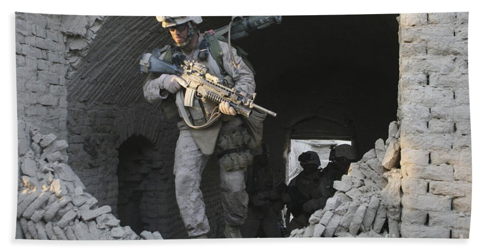 Marines Beach Towel featuring the photograph Marines Conduct Combat Operations by Stocktrek Images