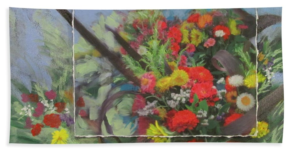 Flowers Beach Towel featuring the mixed media Market Flowers by Anita Burgermeister
