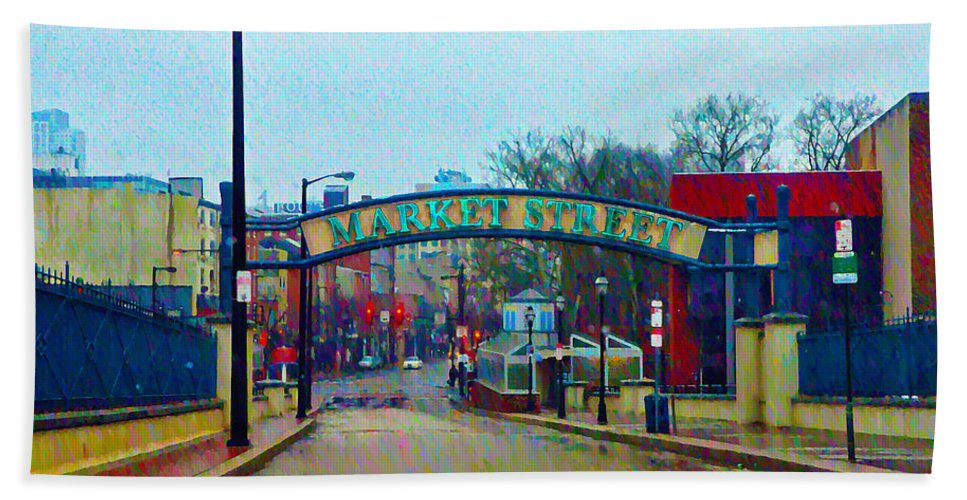 Market Beach Towel featuring the photograph Market Street From Penns Landing Philadelphia by Bill Cannon