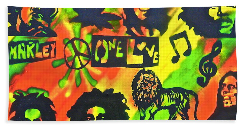 Hip Hop Beach Towel featuring the painting Marley Forever by Tony B Conscious