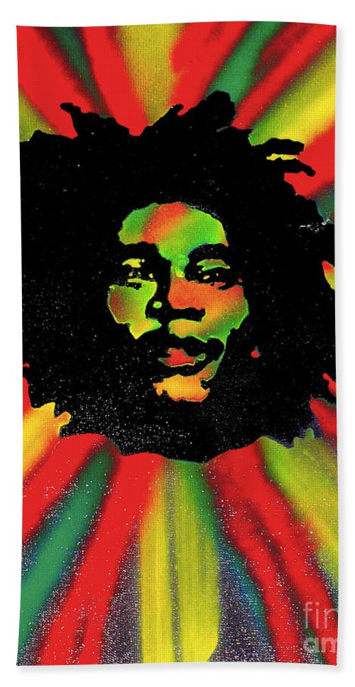 Hip Hop Beach Towel featuring the painting Marley Starburst by Tony B Conscious