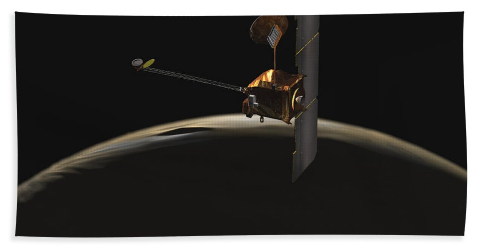 Spectrometer Beach Towel featuring the digital art Mars Odyssey Spacecraft Over Martian by Stocktrek Images