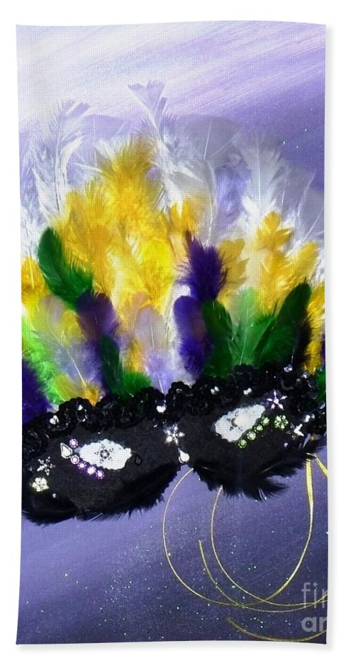 Masque Beach Towel featuring the painting Masque Over Bourbon Street by Alys Caviness-Gober