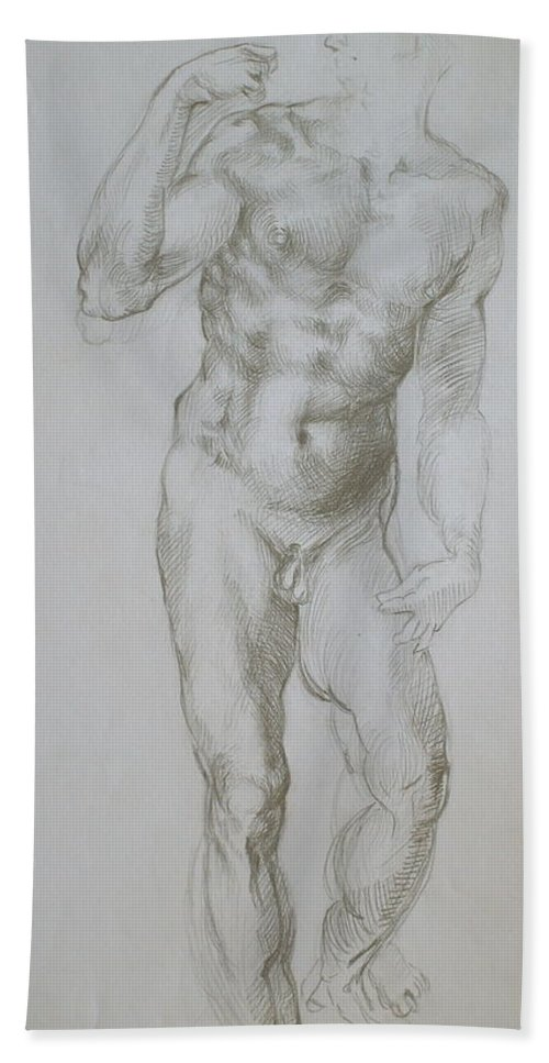 Michelangelo Beach Towel featuring the drawing Master Copy 4 by Jennifer Christenson