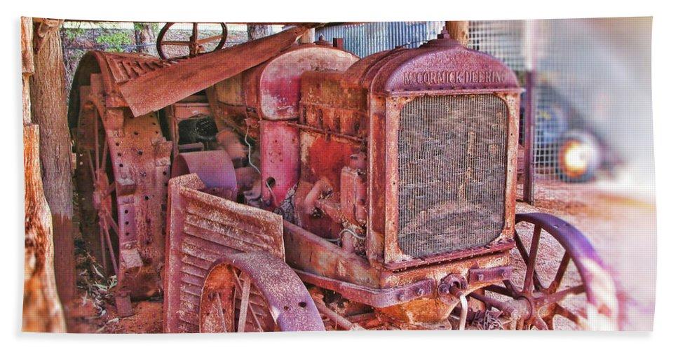 Mccormack Deering Tractor Beach Towel featuring the photograph Mccormack Deering Tractor by Douglas Barnard