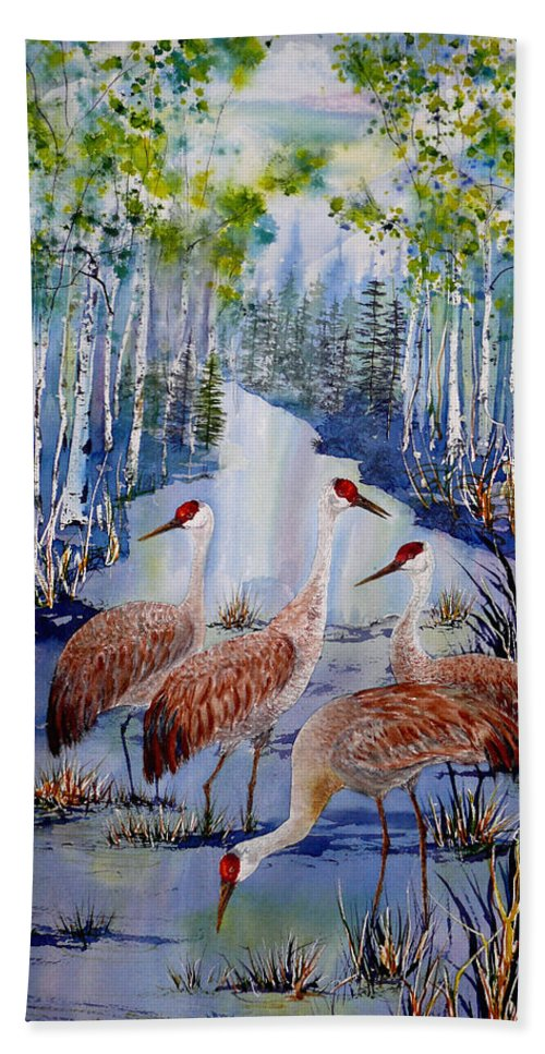 Sandhill Crane Beach Towel featuring the painting Meeting At The Slough by Dee Carpenter