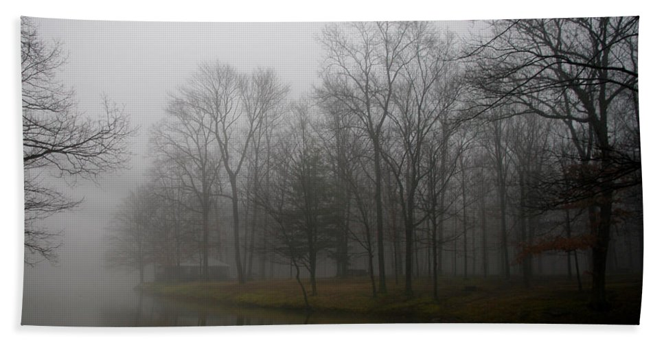Fog Beach Towel featuring the photograph Melancholy Foggy Evening by Jenny Gandert