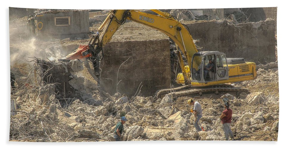 Kobelco Beach Towel featuring the photograph Men At Work Construction Site by Randy Steele