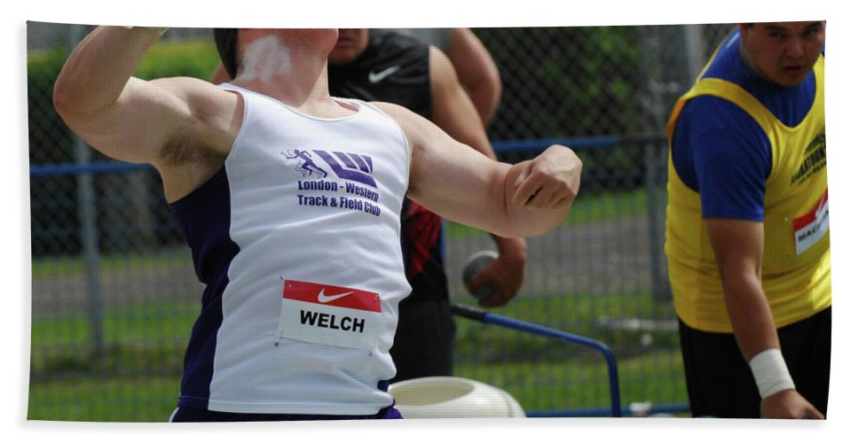 Canadian Track And Field National Championships 2011 Beach Towel featuring the photograph Mens Shotput by Bob Christopher