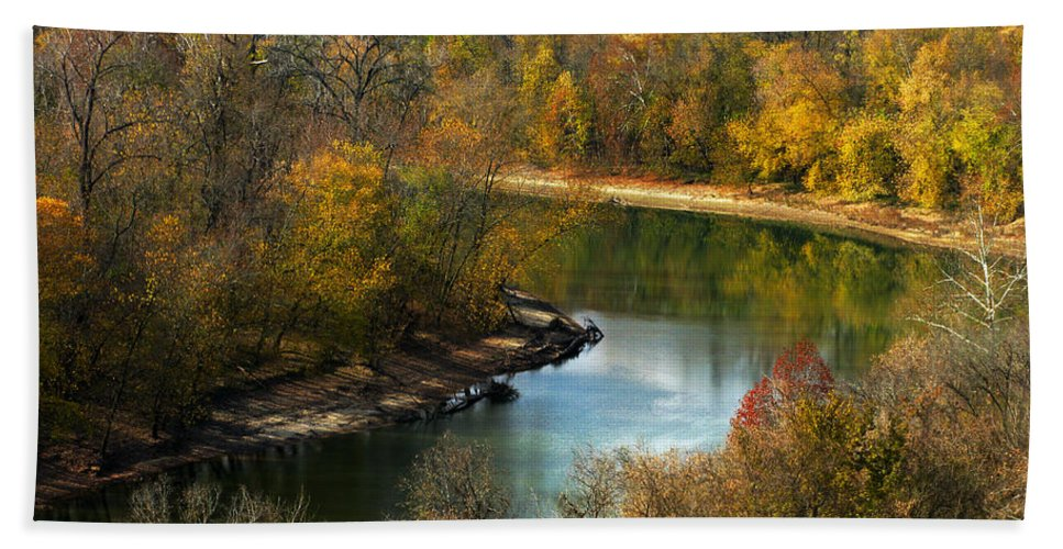 This Photograph Captures The Scenic Beauty Of The Meramec River In Late Autumn Beach Towel featuring the photograph Meramec River Bend At Castlewood State Park by Greg Matchick